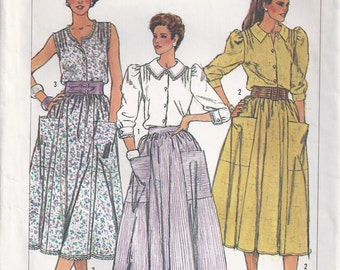 Sleeveles Top Long Sleeved With Shoulder Tucks And Flared Skirt Size 12 14 16 Shirt Or Blouse Sewing Pattern 1985 Simplicity 6907