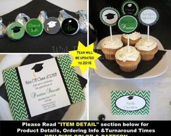 Graduation Party Printables - Custom Graduation Party - Graduation Party Set - You Pick Pattern and Colors