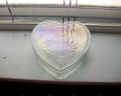 Large Vintage Glass Heart Box With Lid Valentines Day Gift