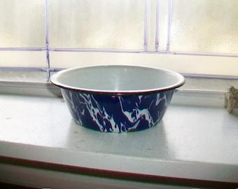 Graniteware Bowl Cobalt Blue Swirl Vintage Enamelware 1930s