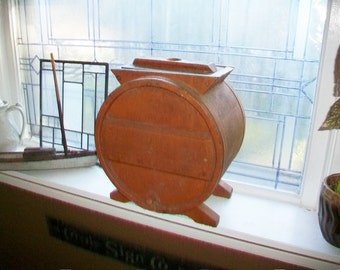 Antique Butter Churn Pumpkin Paint Wooden Churn