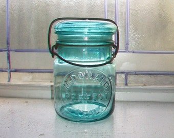 Blue Canning Jar McDonald Perfect Seal Pint Mason Jar with Glass Lid 1920s
