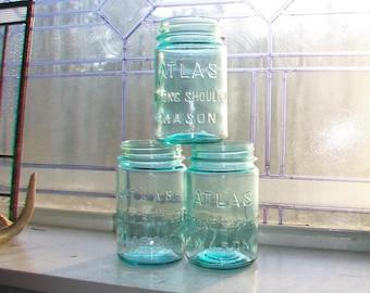 3 Blue Pint Canning Jars Atlas Strong Shoulder Mason 1930s