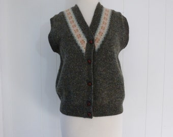 90's United Colors of Benetton Sweater Vest Fair Isle Shetland Wool Button Front Made in Italy M