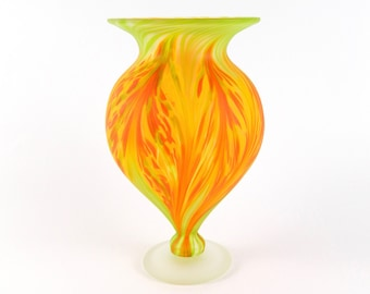 Orange Blown Glass Vase