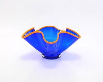 Blue Blown Glass Bowl - Art Glass Bowl