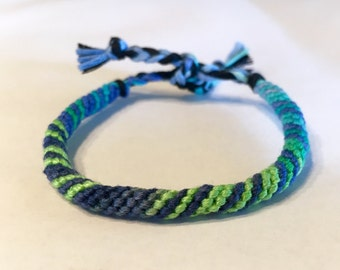 Turquoise, Lime, and Blue - Spiral Tube Friendship Bracelet