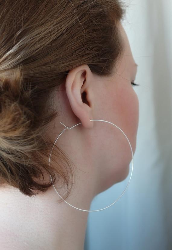 Silver Hoop Earrings , Big Hoop Earrings , Large Hoop Earrings , Everyday Jewelry , 3.5 Inch Hoop Earings Silver Hoops Silver Hoop Earings