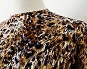 SALE :)))) THE CAT iN U . M . Gorgeous Leopard Spots Animal Print . Midi Dress Matching Belt 70s 40s Style