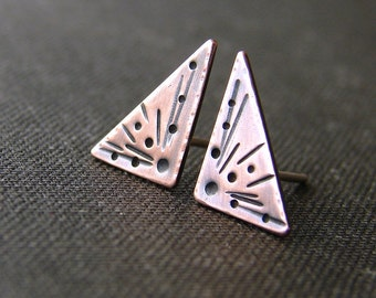 Small triangle stud earrings. Stamped copper studs. Copper post earrings.