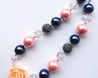little girl chunky bead necklace navy blue peach pink bubble gum chunky baby necklace big girl necklace big bead necklace