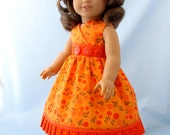 Doll Clothes American Girl - Doll Clothes 18 Inch  - Sundress and Hair bow - fits American Girl - Tangerine Floral