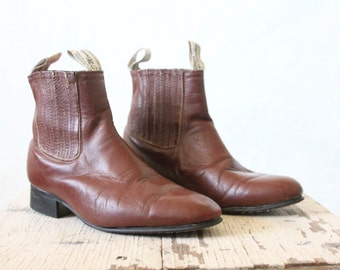 Vintage bourbon pull on ankle boots