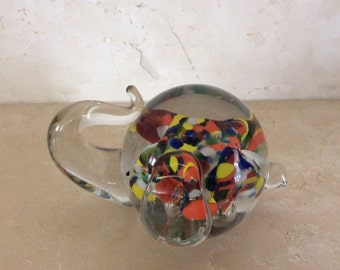 Vintage Handblown Elephant Lenwile Art Glass Ardalt Millefiori Paperweight