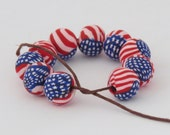 Shygar Beads, 10 pieces USA Flag beads, Star artisan beads, White, red and Blue beads, Round clay beads, Handmade.
