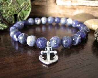 Mens Anchor Bracelet - Sodalite Bracelet for Men with Silver Anchor Charm, Nautical Mens Gift