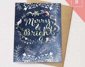 Starry Christmas Greeting Cards BOX of 8 - Merry & Bright Card, Paper goods, Stationery, Stars, Neutral Holiday Card
