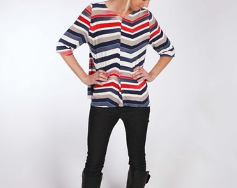 Zigzag Stripe Red White and Blue Jersey Top with Center Front and Center Back Seam - Elbow Sleeves and Uneven Hemline