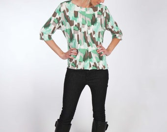 Mint White Grey Abstract Print Jersey Top with Center Front and Center Back Seam - Elbow Sleeves and Uneven Hemline