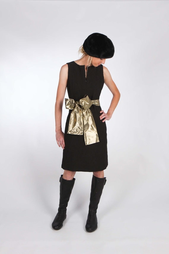 Sleeveless Black Dress with Deep Neckline and Large Gold Belt - Lined with Gold Lame