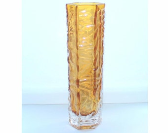 Vintage orange glass vase. Bark pattern glass
