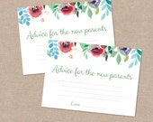 Advice for New Parents Game Floral Watercolour Cards – Baby Shower – Digital file – Print at home