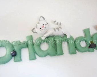 Cute kitten sign / name banner / Baby Cats Sign / Wall décor / Nursery décor / babyroom décor