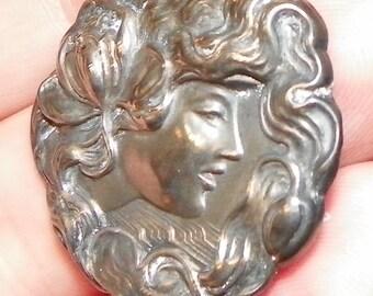 Antique Art Nouveau Woman Sterling Silver Pin Brooch