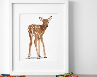 fawn nursery art, baby deer forest animal print, woodland nursery artwork, childrens fawn illustration - deer art print