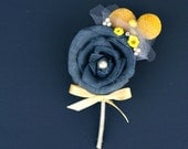 Handmade Groom's Boutonniere - Hand Dyed Charcoal Grey Sola Wood Rose, Yellow Craspedia, Yellow Wildflowers - Yellow and Gray Wedding, Gray