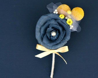 Groom's Boutonniere, Charcoal Grey Sola Wood Rose, Yellow Craspedia, Dried Flowers, Yellow & Gray Wedding, Yellow and Grey, Bridal Accessory