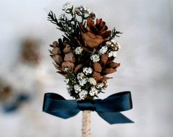 Woodland Pine Cone Wedding Boutonniere // Winter Wedding, White, Green, Brown, Dried Flowers, Groom, Groomsmen, Bridal,Wedding, Buttonhole