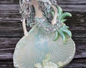 Rainbow Mermaid dish on hand sculpted cockle shell