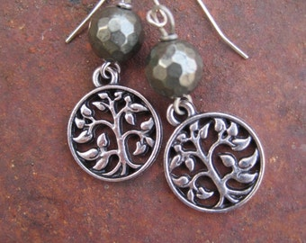 Pyrite and Tree of Life Charm Earrings
