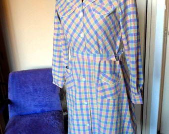 Awesome French Nos WwII 1940's Plaid Print Cotton Shirtwaist Work Dress or Blouse, Size S-M