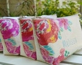 Personalized Bridesmaid Clutches, Set of 4 Bridesmaid Gifts, Pink Floral Red Mint Wedding Accessories, Make Up Bag, Bridesmaid Ideas