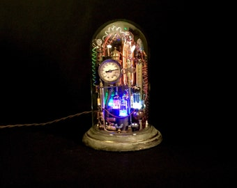 Steampunk Lamp Assemblage Art