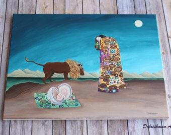 Original Klimt, Rousseau, Da Vinci, Painting Remix, Original Painting, Babylon, Lion, Family, Parents, Whimsical Art, Art Remix, Raven Sky