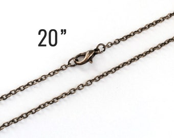 "300 Bronze Necklaces - WHOLESALE - Dainty Cable Links - 2x3mm - 20"" - Ships IMMEDIATELY from California - CH549e"