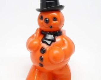 Vintage 1950's Halloween Orange Snowman Candy Container, Black Hat