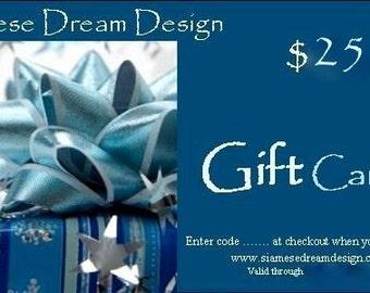 25, 50 or 100 USD Siamese Dream Design Gift Card Gift Certificate Vegan Gifts, Fair Trade