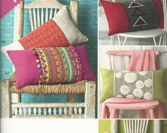Simplicity Crafts Pattern Lumbar Pillows/Sham with changeable wrap panels (uncut)