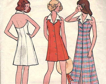PATTERN Butterick 6670 Halter Neck Dress Mini or Maxi Length flared button thru front panelled Size 14