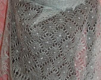 Gray Metalic with White Dots Rectangular Shawl