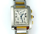 Reserved...Cartier Men's Tank Francaise Chronoflex Chronograph 36 mm Two Tone 18K Yellow Gold SS Watch
