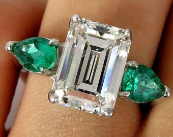 Reserved...GIA HUGE 6.42ct Emerald Cut Diamond and Green Emeralds Engagement Wedding Platinum Ring