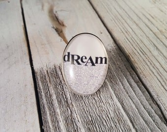 Dream - Large Glass Dome Word Art Statement Ring