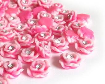 20 Pcs - 12mm Pink Flower Rhinestone Center Cabochons