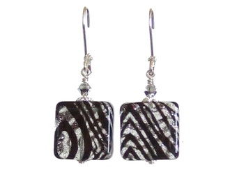 Murano Glass Black Sparkle Square Earrings, Venetian Jewelry, Italian Jewelry, Sterling Leverback Earrings, Zebra Earrings, lampwork Glass