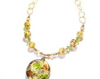 Italian Glass Lime Green Copper Gold Pendant Necklace, Italian Jewelry, Venetian Glass Beaded Necklace